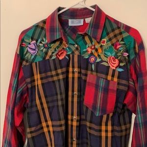 Vintage QPS Embroidered Plaid Shirt Floral Medium